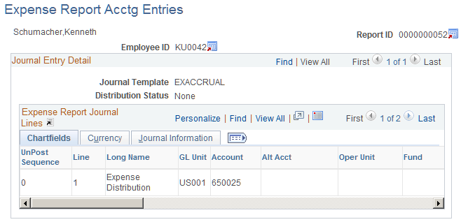 viewing expense report accounting entries