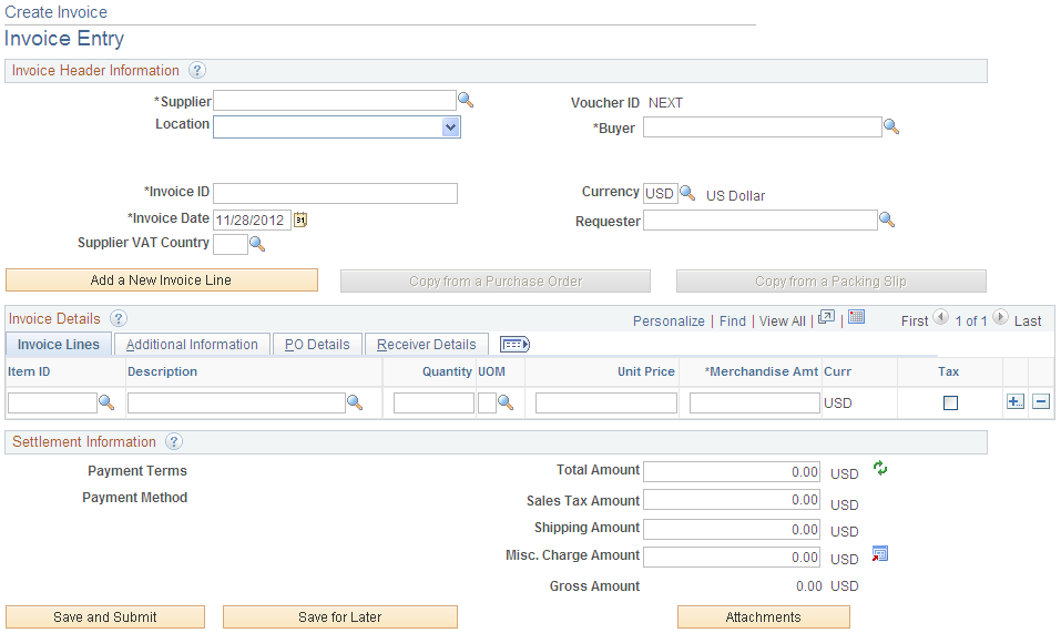 entering and managing self service invoices