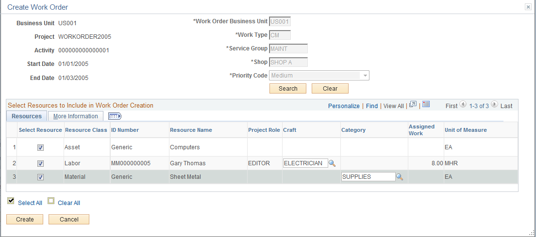 creating work orders and work order managed projects in peoplesoft
