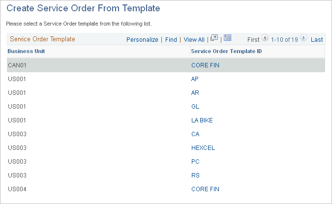 creating service orders from templates