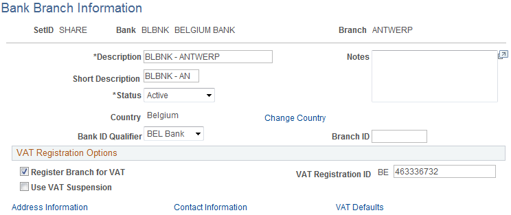 Bank Branch Information Page