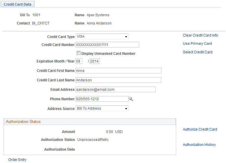 credit card data page in order management using the traditional credit card model