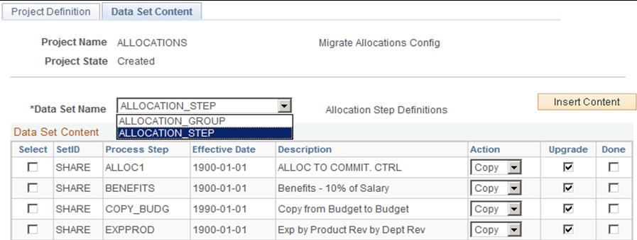 Using Application Data Sets