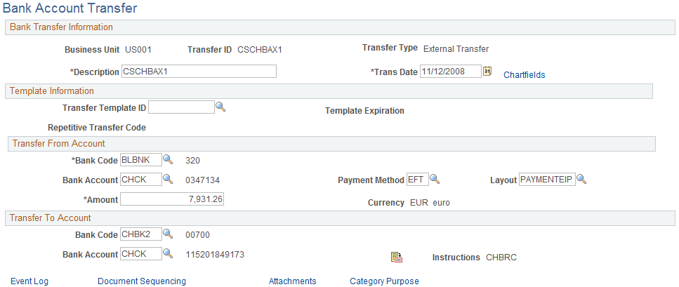 Bank Account Transfer Page