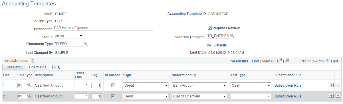 Establishing Accounting Templates