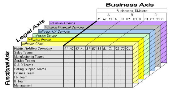 Cube with the business axis representing the enterprise ision