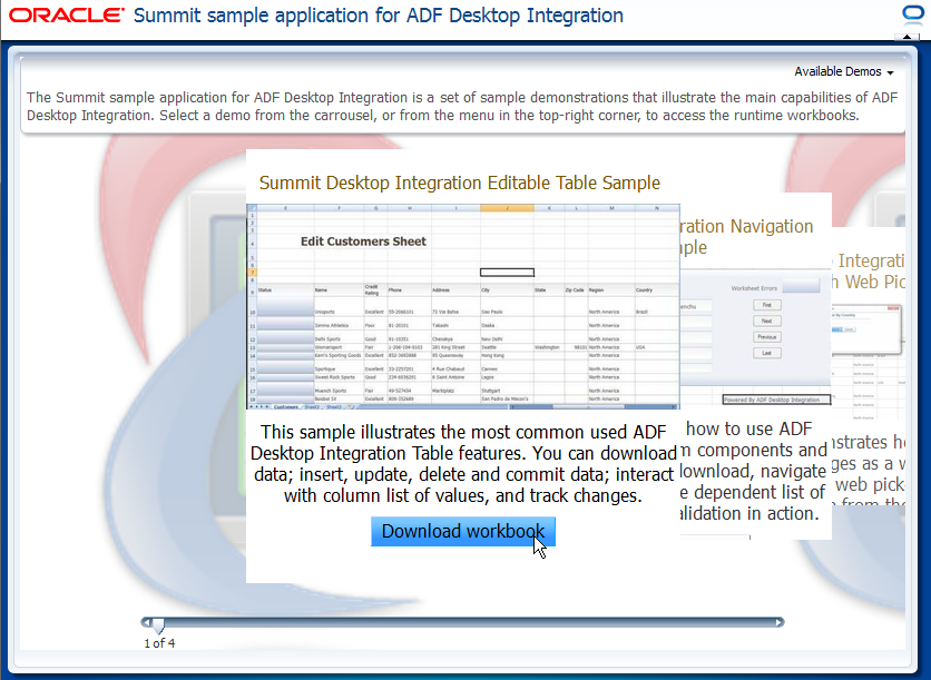 Introduction to the ADF Desktop Integration Sample