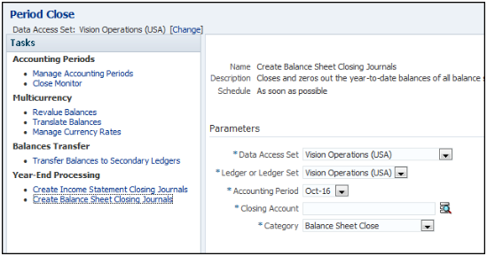 this figure shows the period close page from which you run the create balance sheet