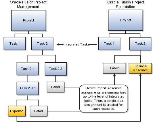 using project execution management importing project plans from oracle fusion project management
