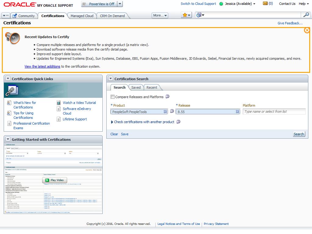 Peoplesoft Certification Information