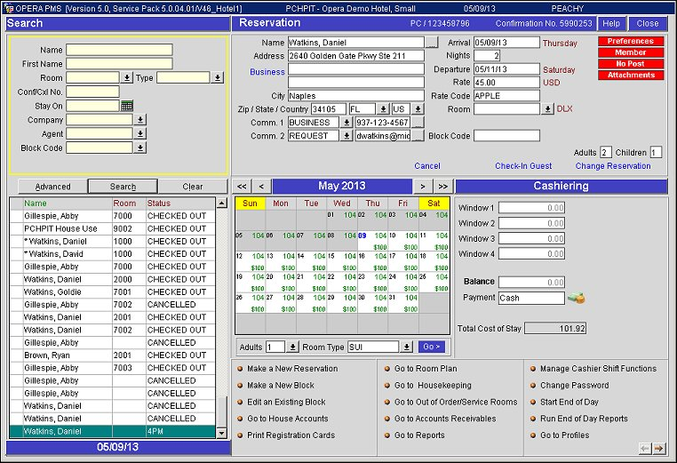 Reservation Dashboard Layout 3