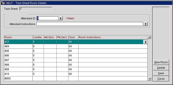 task sheet room details