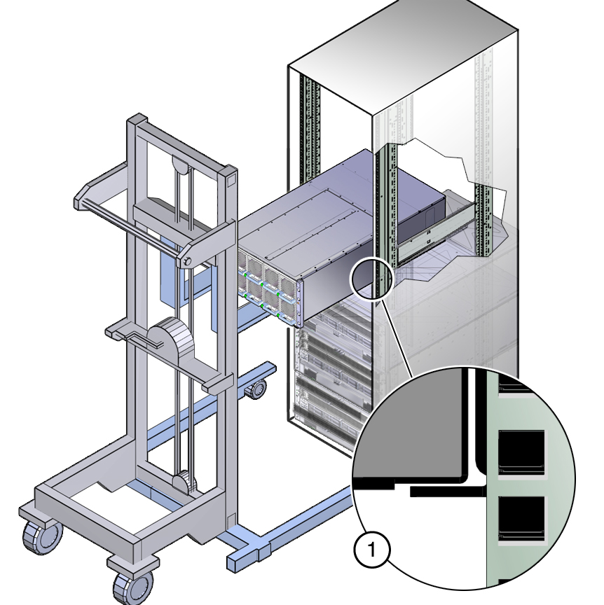 ImagePicture Of System On Mechanical Lift Being Inserted Into Rack
