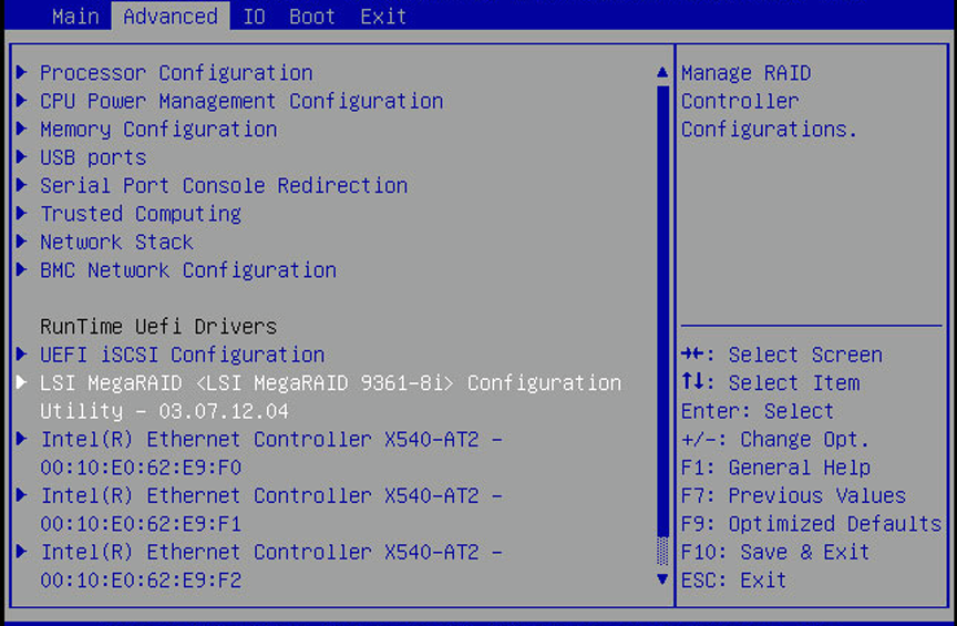 Configure RAID in UEFI Boot Mode - Oracle® Server X5-4 Installation