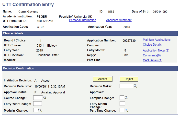 Processing Imported UCAS and UTT Applications and Applicant Data