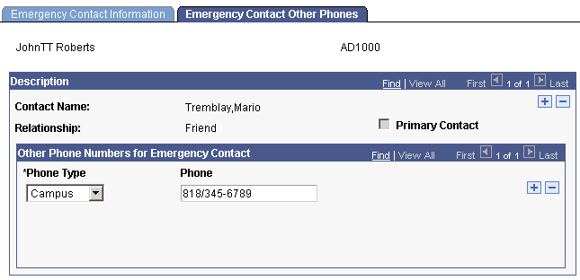 entering emergency contact data