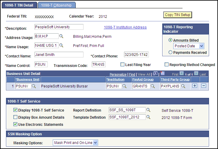 Setting Up 1098-T Tax Form Production