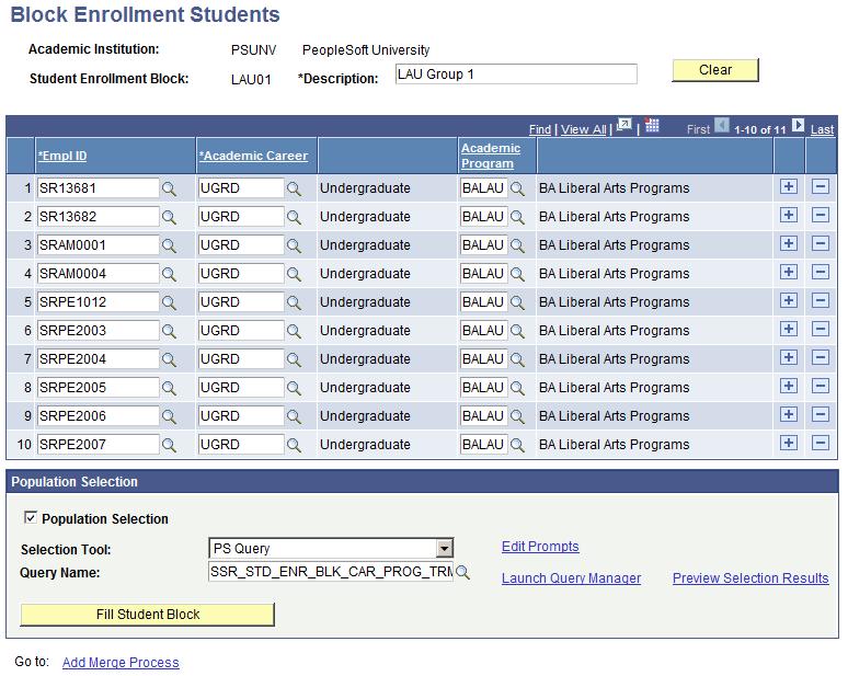 Processing Enrollment Transactions Through the Block