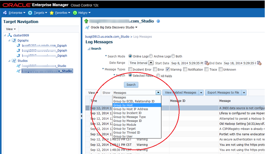 Logging for Big Data Discovery targets in Enterprise Manager