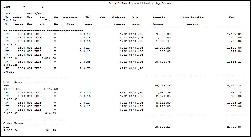 print tax reconciliation reports