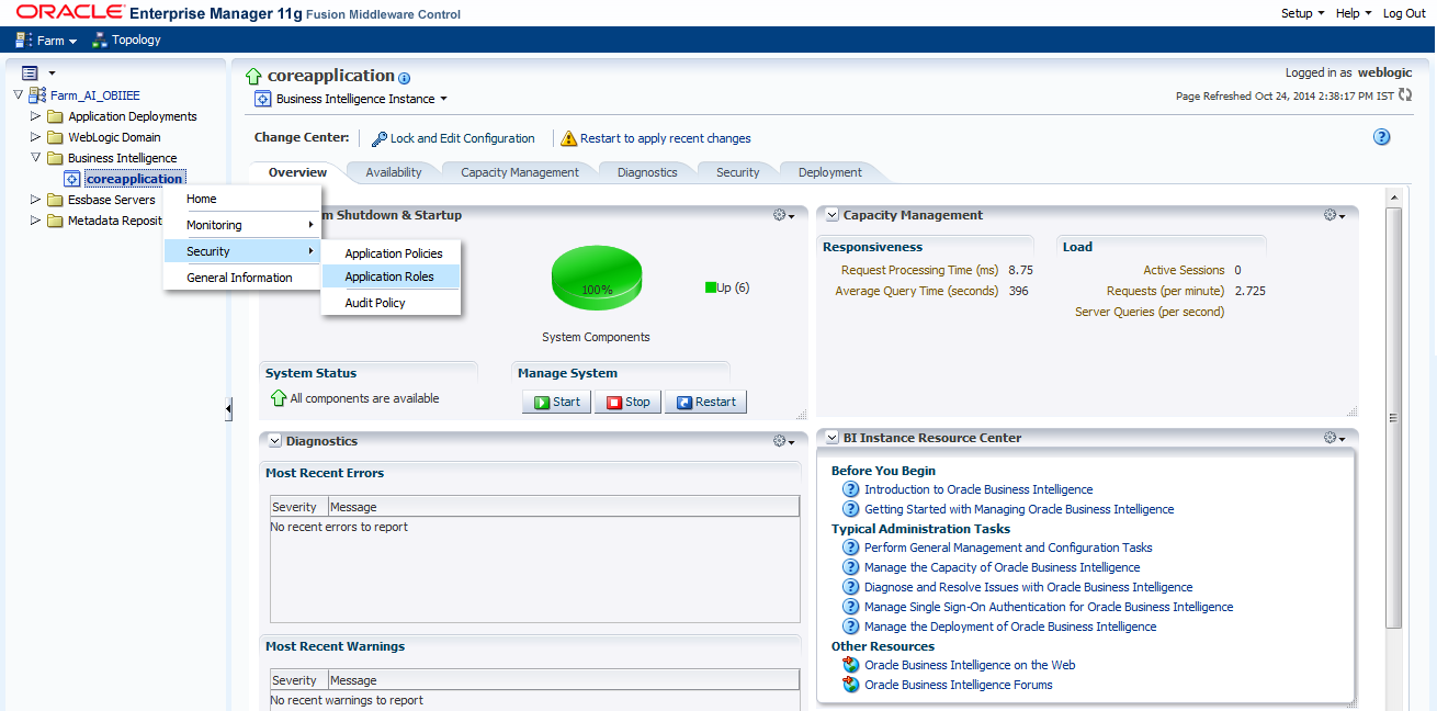 Configuring the OBIEE Environment