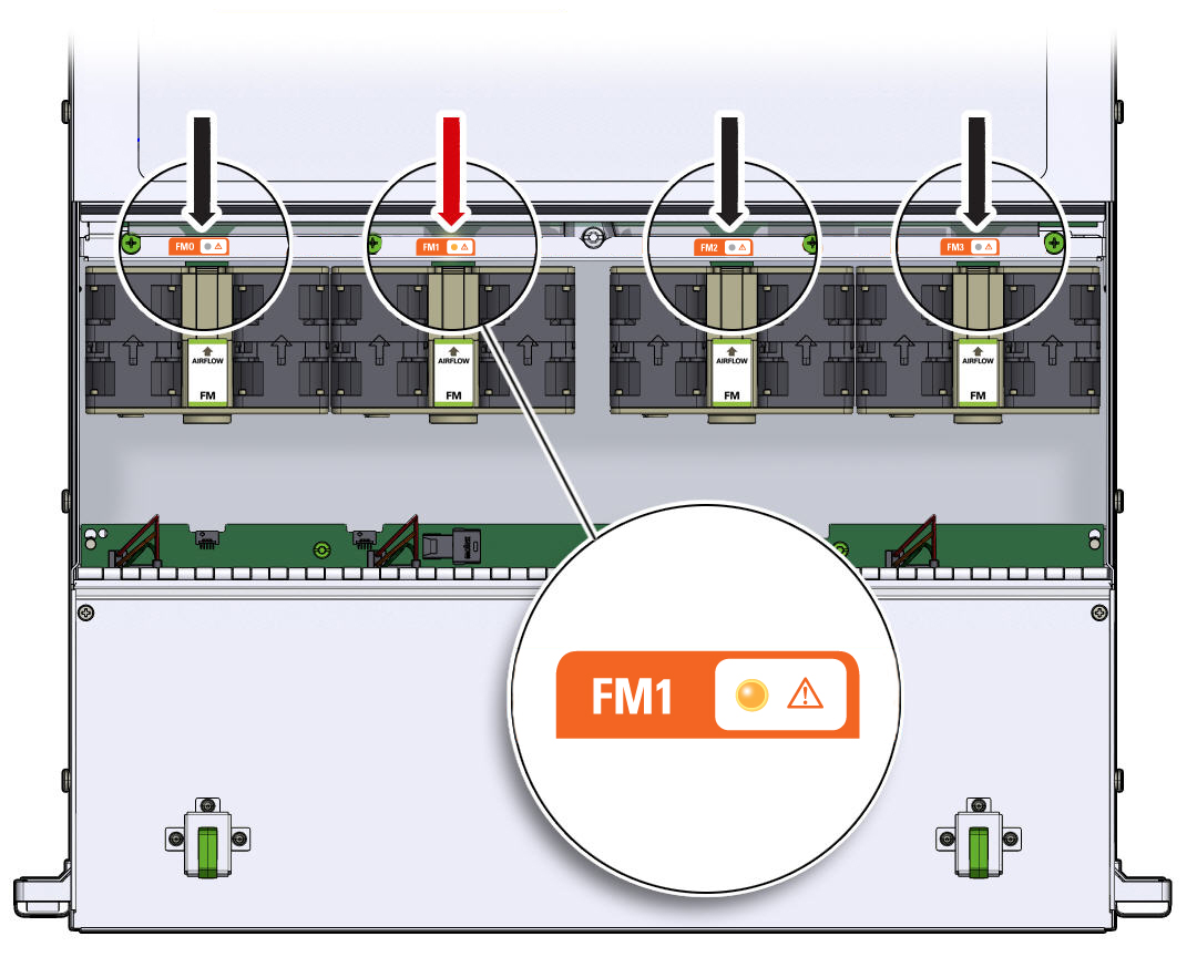 image:Graphic showing the fan module status LEDs