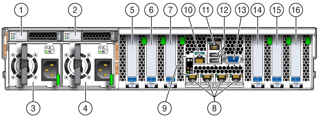 Back Panel Status Indicators, Connectors, Drives, and PCIe Slots ...