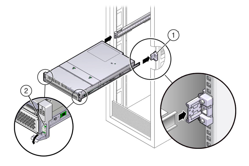 Install the Server Into the Slide-Rail Assemblies - Oracle