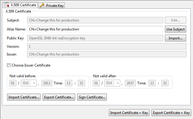 Manage certificates and keys