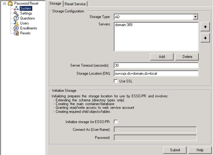 管理コンソールを使用したPassword Resetの構成