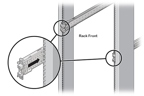 Image Graphic Showing The Slide Rail Mounting Pins Locking Into Rack Holes