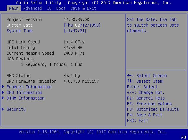 Access BIOS Setup Utility Menus - Oracle® Server X7-2 Service Manual