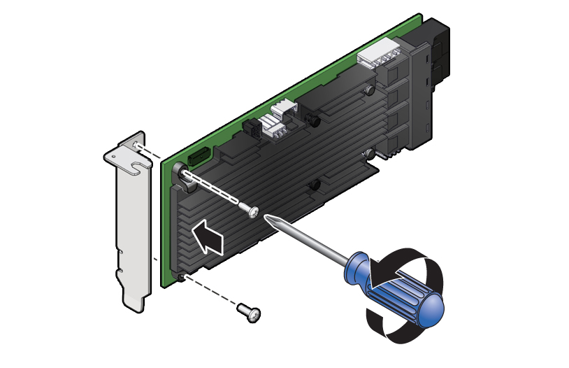 ImageFigure Showing How To Remove The Standard Bracket From Replacement HBA Card