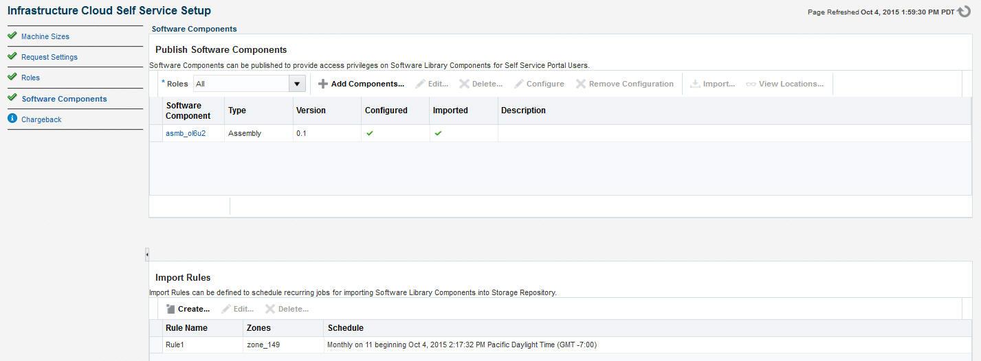 self service portal setup software components
