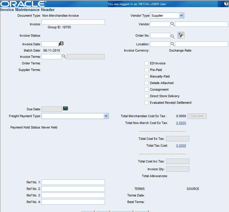 Create Documents - Invoice header