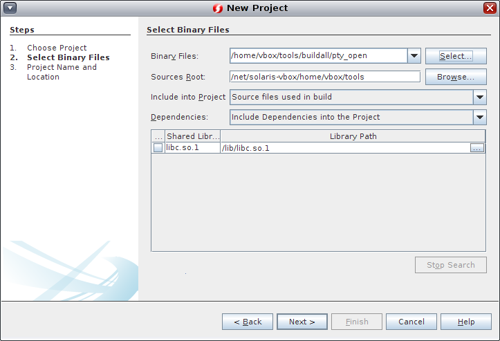 Creating a Project From a Binary File - Oracle® Developer