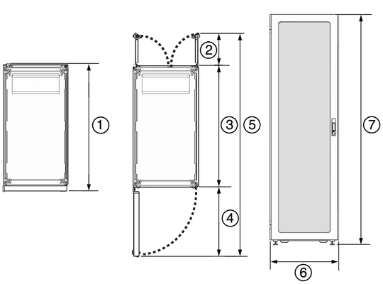Image:Figure Showing The Top And Front Dimensions Of The Oracle Rack Cabinet  1242.