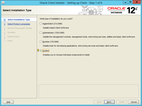 Installing oracle database client.