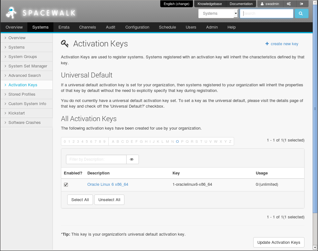 3 1 Working with Activation Keys Using the Spacewalk Web