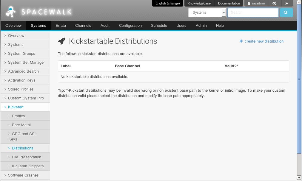 4 3 1 Working with Kickstart Distributions Using the Spacewalk Web