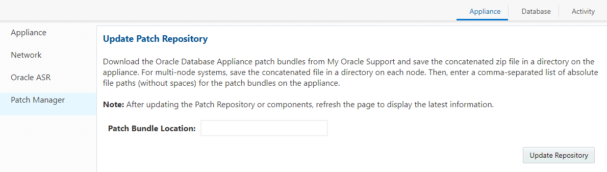 Updating Oracle Database Appliance Software