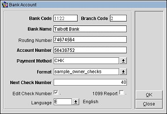 Adding Or Editing Bank Account Information Code