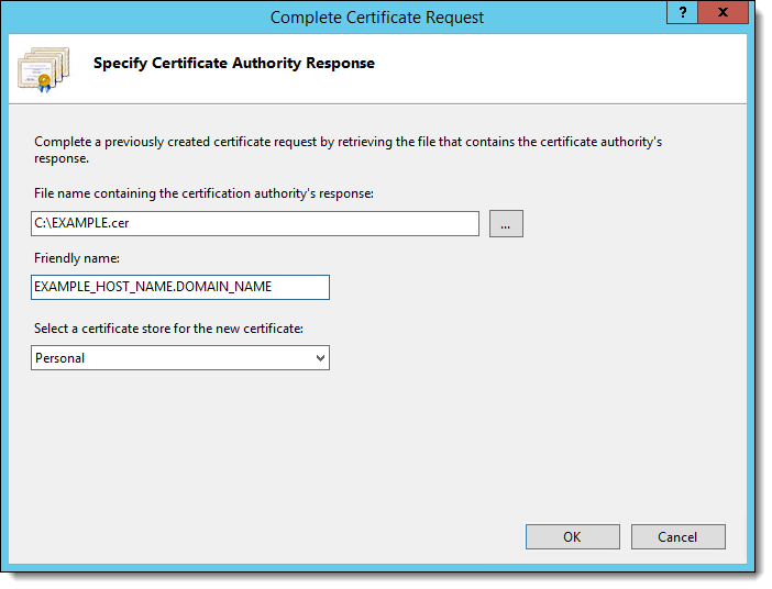 Completing a Secure Server Certificate Installation