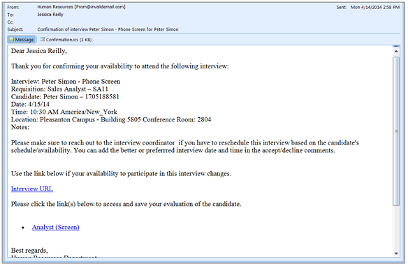 Evaluation management image showing the confirmation email received by the interview participant altavistaventures Images