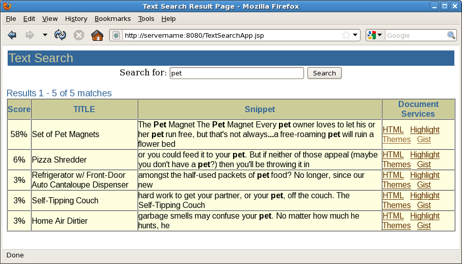 description of figure a 2 the text query application with results