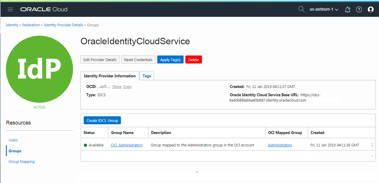 Managing Oracle Identity Cloud Service Users and Groups in
