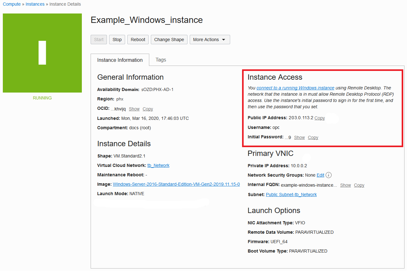 Launching a Windows Instance