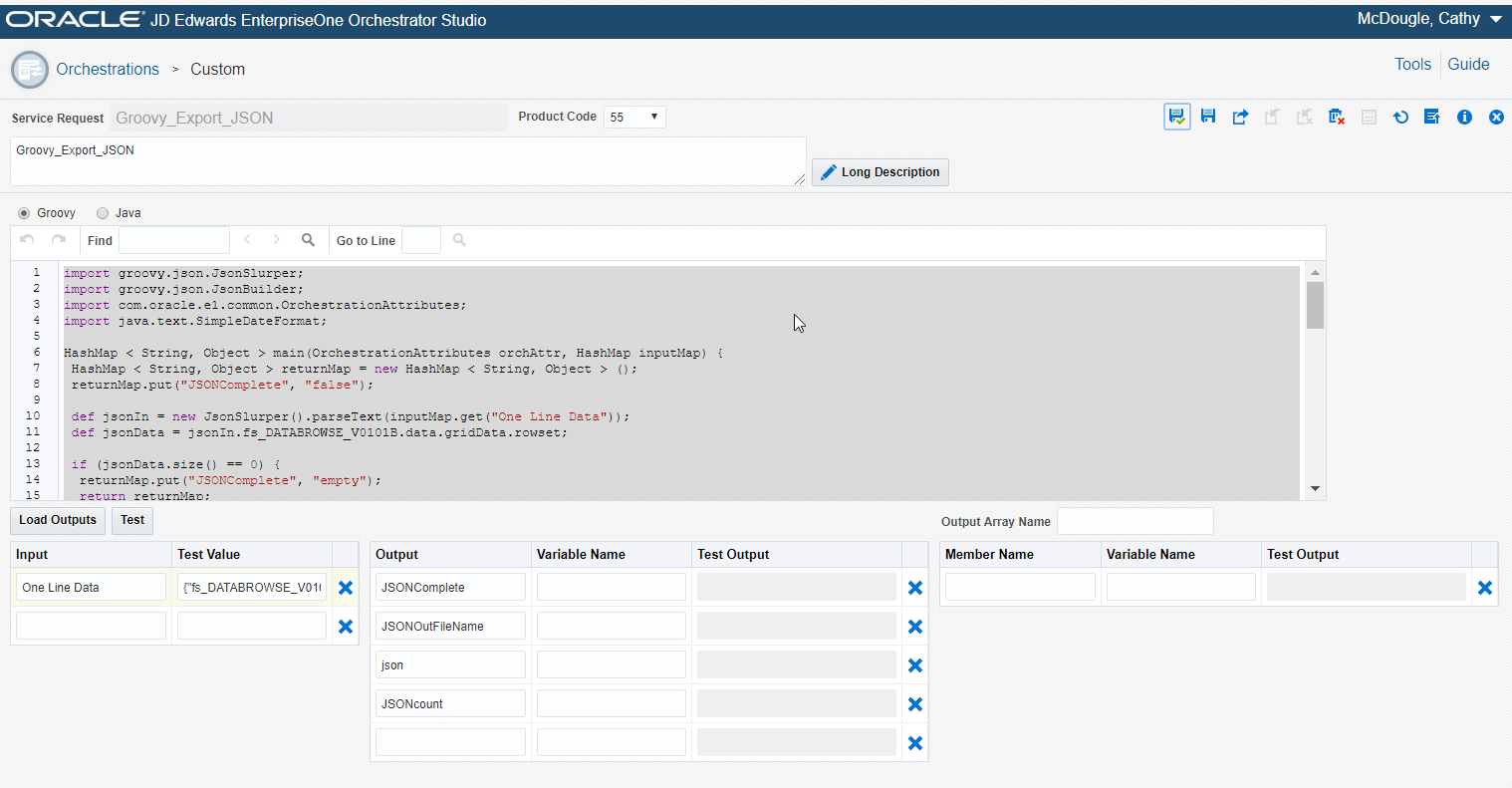 Creating an Orchestration to Export EnterpriseOne Data to CSV, JSON