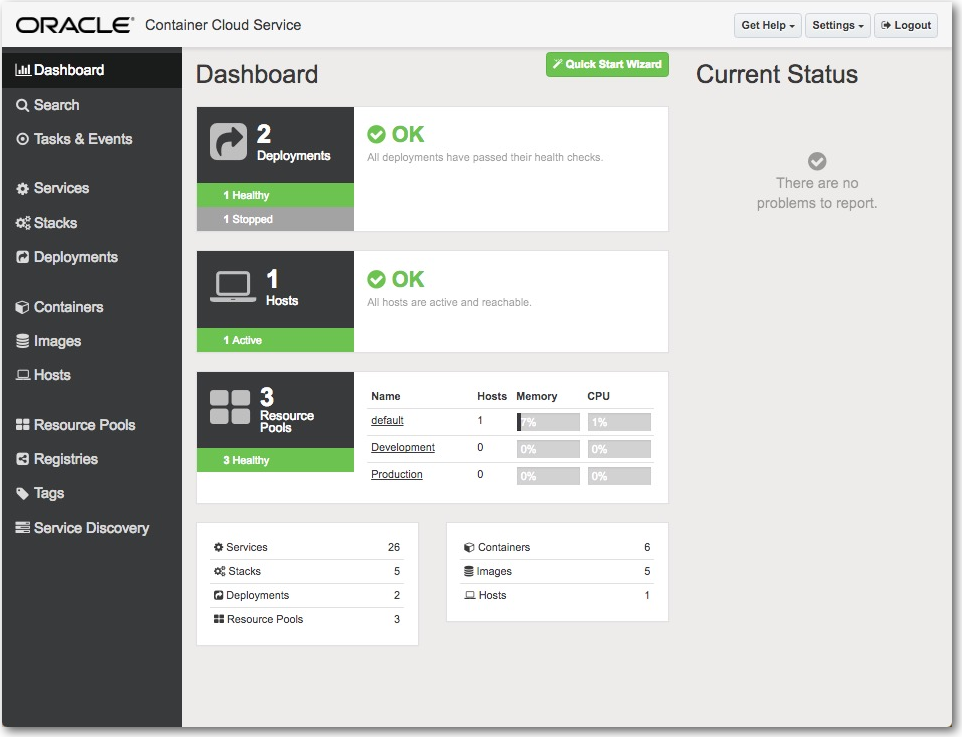 oracle cloud services dashboard.