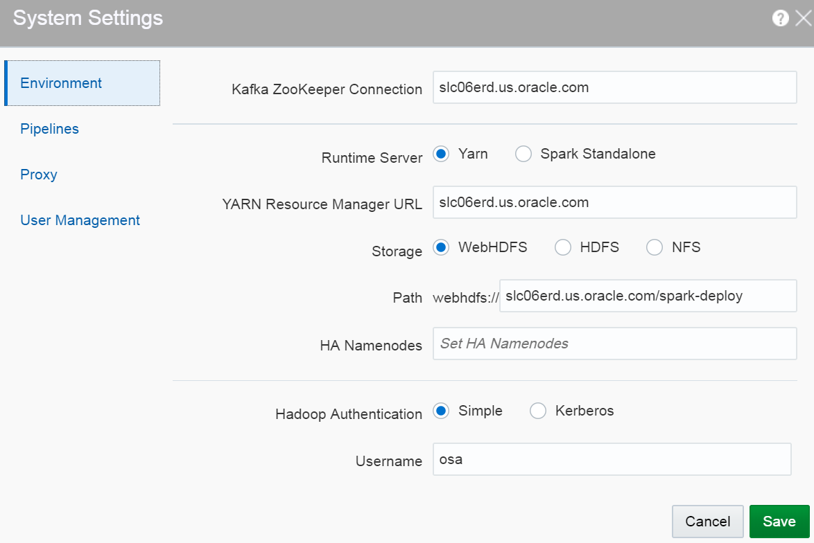 Configuring Stream Analytics System Settings